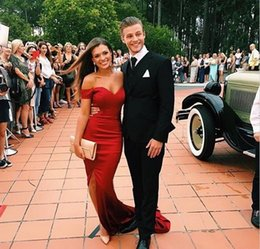 Wholesale Empire Red Sweetheart Mermaid - Off the Shoulder Red Fanshion Mermaid Prom Dresses 2017 Sleeveless Sweetheart Front Split Long Party Evening Gowns Formal Dress Party Dress