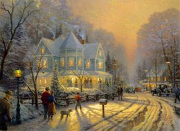 Wholesale Holidays Paint - Hot Sell Gift Thomas Kinkade Landscape Painting Reproduction High Quality Giclee Print on Canvas Modern Art Decor Chrismas holiday Picture