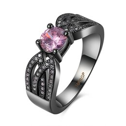 Wholesale Womens Vintage Ring - Romantic Pink CZ Womens Ring Fashion Black Gun Plated Jewelry Vintage Wedding Rings For Ladies Birthday Gift Wholesale R071