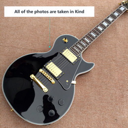 Wholesale Electric Guitar Solid - Gisten 1958 black Gold hardware LP electric guitar OEM logo free shipping