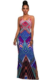 Wholesale Bohemian Halter - 2017 Party Dress Robe Longue Bright Geometric Pattern Boho Style Maxi Dress with Slit Halter Summer Maxi Gown