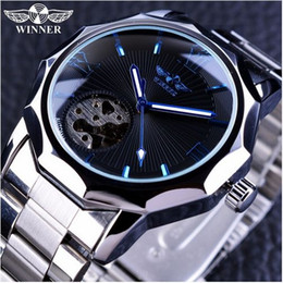 smallest watch Coupons - Winner Blue Ocean Geometry Design Stainless Steel Luxury Small Dial Skeleton Mens Watches Top Brand Luxury Automatic Wrist Watch