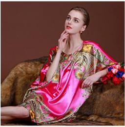 Wholesale Ladies Plus Size Pyjamas - Women Sleep Lounge 2017 Summer Plus Size Ladies Pyjamas Faux Silk SleepShirts Female Nightgowns Dressing Gown Floral Print Casual Home Suit