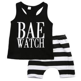 Wholesale Boys Suit Vests - Baby Unisex Clothing Toddlers Clothes Set Infant Sport Tracksuit Black Vest Shirt Striped Shorts Pants Outfit Next Kids Playsuit Summer Suit