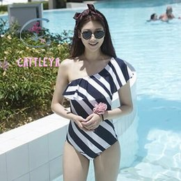 Wholesale Onepiece Woman - CATTLEYA 2017 swimwear one piece swimsuit striped bodysuits women bathing suits swim wear onepiece sexy mayokini triki OBR 8645