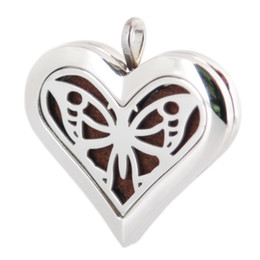 Wholesale Big Lockets - Heart Big Butterfly 36mm Aromatherapy Essential Oil surgical Stainless Steel Perfume Diffuser Locket Necklace with chain and 10pcs Felt pads