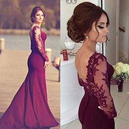 Wholesale Sexy Black Mermaid Stretch Satin - Burgundy Long Elegant Evening Dresses 2016 Boat Neck Lace Long Sleeves Stretch Satin Mermaid Women Formal Evening Gowns