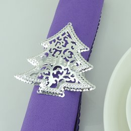 Wholesale- 12pcs Silver Plated Christmas Tree Napkin Ring Serviette Buckle Holder For Wedding Banquet Dinner Decoration Favor
