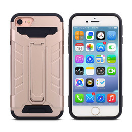 Wholesale Credit Card Storage - Hybrid Armor Case For Iphone 6 6s Plus Samsung S7 edge PC Silicone With Credit Card Slot Storage kickstand Shield 3D Case With OPPBAG