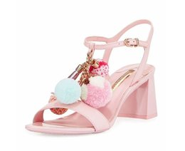 Wholesale Med Designs - Sweet Design Pink Silvet Brown Girls Sandals Ball Flower Med Chunky heels Genuine leather Summer Gladiators Women Shoes T Show