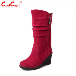 Wholesale Wedge Sexy Brown High Boots - Wholesale-Size 30-49 Women Wedge Half Short sexy Boots Rainbow Color Winter Snow Boot Fashion Footwear Warm Botas Feminina Shoes P19467