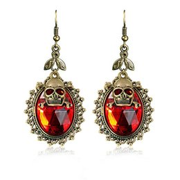 Wholesale Skull Stud Earrings Men - Fashion Retro skull Punk Ancient bronze plating Double layer skull head big crystal earrings for women and men Halloween party