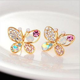 Wholesale Bowknot Shiny - Brincos Sale Trendy Women Animal Jewelry 2016 New Fashion Luxury Hollow Shiny Colorful Crystal Pear Bowknot Stud Earrings E32