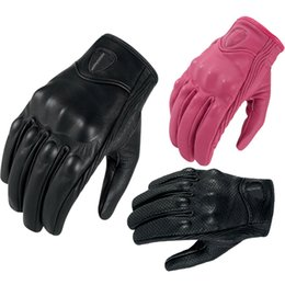 Wholesale real motorbikes - Wholesale- Motorcycle Gloves Real Leather Full Finger women&men Touch Screen Luvas Guantes Motorbike Protective Gears Racing Glove S M L XL