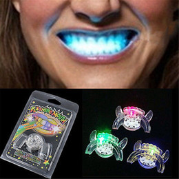 Wholesale Glow Mouth - 2017 Flashing LED Light Up Mouth Braces Piece Glow Teeth Halloween Party Glow Tooth Light Up Mouthpiece Rave
