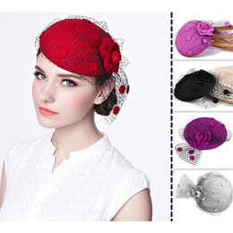 Wholesale Ladies Veiled Hat - Ladies Vintage Church Dress Fascinator Wool Hair Pillbox Hat Rose Floral Veil Cocktail Party Wedding A043