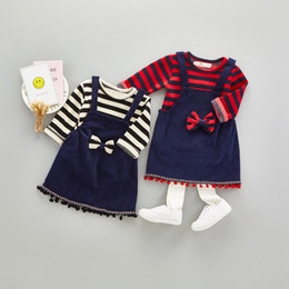 Wholesale Dresses Long Pc - Cute Girls Stripe Tops+Bow Suspender Dresses Outfits 2017 Fall Kids Boutique Clothing 1-4T Little Girls Long Sleeves Stripe 2 PC Set