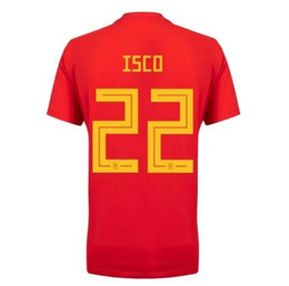 Wholesale Jersey Wholesale Thailand - best Thailand quality Spain red Soccer Jersey 2018 world cup ISCO ASENSIO RAMOS MORATA football shirt trade price Sales dhl free shipping