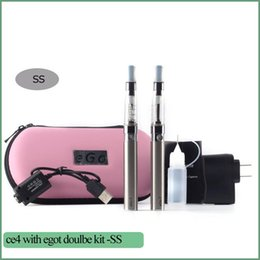 Wholesale E Cig Colorful - CE4 EGo T Double Starter Kit E-cig 2 CE4 Atomizer 2 Battery 650mah 900mah 1100mah Electronic Cigarette Colorful Zipper Case