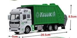 Wholesale Sprinkler Toys - Alloy car truck back to sanitation garbage truck tankers sprinkler children toy car model gift box