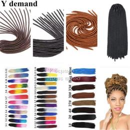 Wholesale 26 Inch Synthetic Braiding Hair - 20 Inch Faux Locs Crochet Synthetic Braids Hair Extensions 100g 20 Roots pack Hair Kanekalon Dreadlocks Braids 26 Colors