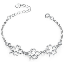 Wholesale Fishing Hooks Box Set - personalized name bracelets Four Leaf Clover Sterling silver handmade bracelets for women girls 12