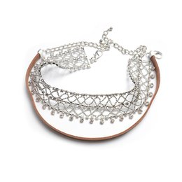 Wholesale Vintage Fishing Tin - Multi-layer Choker Necklace Rhinestone Statement Necklaces 2 Colors Fishing Net Necklace Stretch Vintage Leather Chokers Necklace