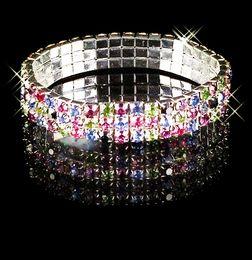 Wholesale Earrings Multi Bracelets - Multi Color Stretch Bangle 3 Rows Rhinestone Wedding Bracelets Accessories Evening Party Prom Dresses Bridal Jewelry Bracelet Free Shipping