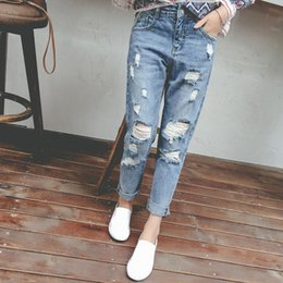 Wholesale Cheap Female Jeans - Princess summer 2017 Hot selling preppy style high waist hole women Jeans beggar female loose skinny harem Pants Cheap wholesale