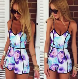 Wholesale One Piece Playsuit - Sexy Women Celeb Lace Playsuit Party Evening Summer Ladies Dress Jumpsuit Shorts Top Floral Print one-piece Bodysuit Quality Bottom Price