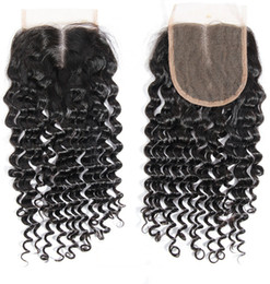Wholesale Brazilian Curly Top Closure - Deep curl hair closure Best selling for your nice hair 4*4 Top lace closure Natural color curly hair extensions wavy Curly free Middle part