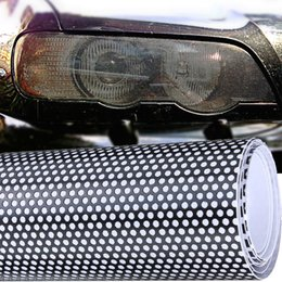 Wholesale Car Window Tinting - 10xA4 PERFORATED CAR WINDOW LIGHT FLY MESH HEADLIGHT FILM EYE VISION ONE WAY VISION WRAP TINTING FILM JAP EURO STICKER