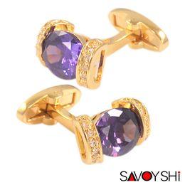 Wholesale mens cufflinks gold - Crystal Cufflinks For Mens Luxury Purple Shirt Cuff bottons High Quality Wedding gemelos Gold abotoaduras Jewelry