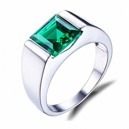 Wholesale Antique Silver Ring 925 - Size 8,9,10,11,12 Four colour Fine Jewellery Antique Mens 925 Sterling Silver Princess Cut Sapphire Wedding Ring boys gift HOT