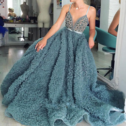 Wholesale Spaghetti Strap Red Carpet Dress - Luxury Crystal Emerald Evening Dresses Sexy Spaghetti Straps Shiny Beaded Ruffles Tulle Evening Gowns 2017 Gorgeous A-Line Red Carpet Dress