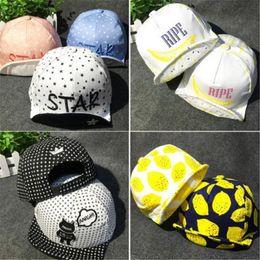 9a058527 DHL Kids Sun Hats Cartoon Baby Caps Boys Girls Cotton Flat Cap Spring  Travel Lemon Sun Hat Children Baseball Snapback Hat