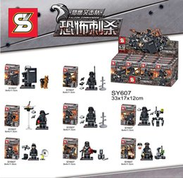 Wholesale Swat Team - Sy607 City Swat Police Team Military figures Set Army soldiers with Guns Dog Kids Block Toy Compatible For Boy