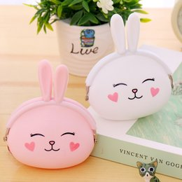 Wholesale Cute Girl Headphones - Wholesale- Women Key Wallets Cartoon Rabbit Animal Candy Colored Girls Coin Children Cute Cartoon Mini Coin Purse for Earphone Headphone