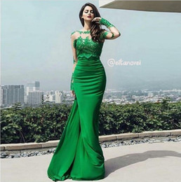Wholesale Stretch Arabic - Arabic Vestidos Long Sleeves Mermaid Evening Dresses Formal Occasion Sheer Jewel Neck Green Lace Appliqued Stretch Elastic Satin Prom Gowns