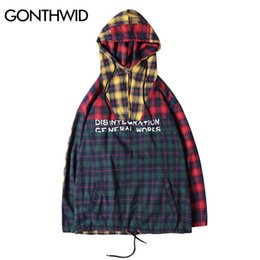 Wholesale Men Hoodies Plaid Shirt - Wholesale- GONTHWID Patchwork Pullover Plaid Long Sleeve Hoodies Shirts Mens Hip Hop Printed Zipper Pocket Casual Shirts Fashion Streetwear