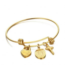 Wholesale mary heart - Trendy Mary Cross Bangle Bracelets For Woman Jewelry Gold Plated Virgin Mary Charm Heart Lock Bracelets&Bangles B-111