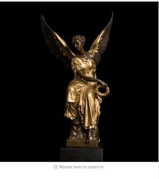 Wholesale Souvenir Angels - Bronze Winged Victory Lady Goddess Athena Mythology Sculpture Statue Angel Bronze Statues French Souvenir Lost WBrass Crafted Human Vintage