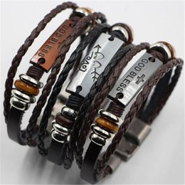 Wholesale Wholesale Letter Charms Bulk - Wholesale bracelet letters bulk Mix Styles Fashion Leather love arrow bracelet mens weave bracelet leather acc244