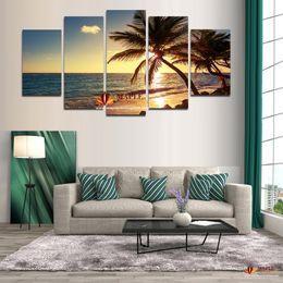 Kokosnussbaum Wandmalerei Rabatt Unframed 5 Stück Strand Kokospalme Moderne  Home Decor Leinwandbild Kunst HD Druck Auf