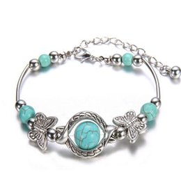 Wholesale Butterfly Turquoise Silver Bracelet - Turquoise Beads Silver Plated Butterfly Bracelet Jewelry Handmade Accessories Fashion Jewelry Lobster Clasp Drop Shipping Wholesale