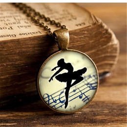 Wholesale Women Ballerina - Wholesale-Art Collage Ballerina Dancing Glass Cabochon Pendant Necklace Vintage Bronze Chain Necklace for Women Jewelry Dance Teacher Gift