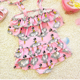 Wholesale One Piece Baby Doll - Baby Clothes Girls Swimsuit Swimwear 2PCS Doll Printed Multi-tier Skirt One-Piece Bathing Suit With Hood Kids Clothing XY100