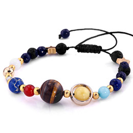 Wholesale Universe Black - 2018 Bracelet Universe Galaxy the Eight Planets in the Solar System Guardian Star Natural Stone Beads Bracelets Bangle for Women Men