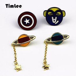 Wholesale Captain America Badge - Wholesale- Timlee X231 Free shipping Cartoon Lovely America captain shield Planet Badge Metal Brooch Pins,Fashion Jewelry Wholesale