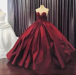 Wholesale Royal Blue Silk Petals - 2017 Burgundy Quinceanera Dresses Ball Gown Sweetheart Lace Up Floor Length Masquerade Dresses Satin Appliques Vintage Long Prom Gowns